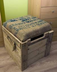 Cushioned Ottoman Burlap Cushioned Pallet Ottoman Box