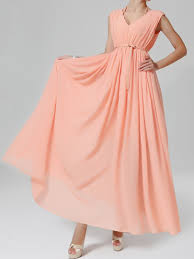 pink low cut chiffon maxi dress with double v neck persunmall