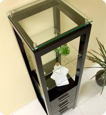 espresso bathroom linen cabinet 3 tempered glass shelves