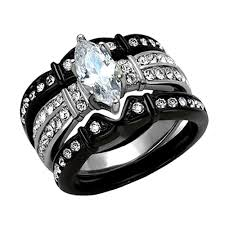 stainless steel wedding ring sets women s cubic zirconia marquise cut stainless steel engagement