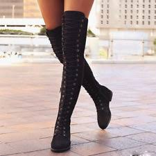 s boots lace up low heel knee boots lace up cuban heel solid shoes for ebay