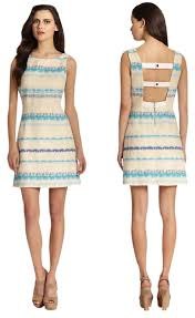 alice olivia dress everleigh blue striped strap back tweed on