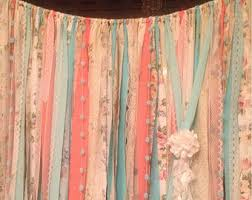 Shabby Chic Valance by Curly Ribbon Curtain Shabby Chic Valance Mint Coral Curly