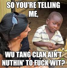 Wu Tang Clan Meme - so you re telling me wu tang clan ain t nuthin to fuck wit