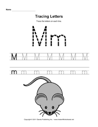 tracing letters m u2014 instant worksheets