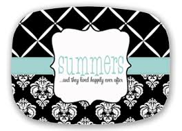 monogrammed platter personalized melamine platter cross hatch damask platter