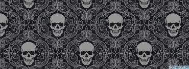 black and grey skulls pattern cover timeline photo