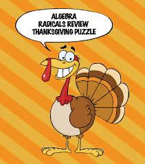 thanksgiving algebra simplifying radicals puzzle simplifying