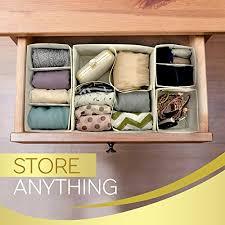 premium set of 4 organizer bins with dividers for closet dresser