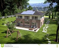 solar panels on houses house with garden and solar panels on roof 3d rendering stock