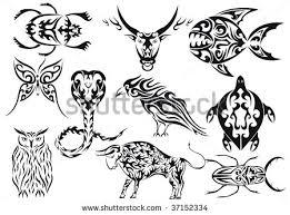 set vector animals tribal tattoos stock vector 37152334