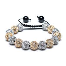 silver bracelet with crystal images Shamballa inspired bracelet golden silver crystal balls 12mm jpg