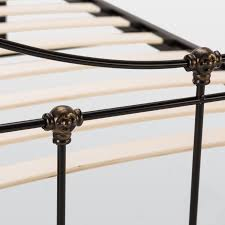 rebecca metal bed frame in satin black and antique gold u2013 next day