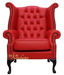 Cheap Leather Armchairs Uk Chesterfield Queen Anne High Back Wing Chair Uk Manufactured Flame