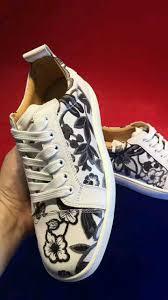 christian louboutin white black flower print low sneakers