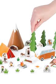 camping paper toy diy paper craft kit papercraft kids