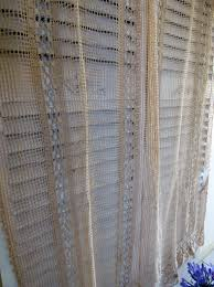 antique ecru filet lace curtain 5 curtains etsy and lace curtains