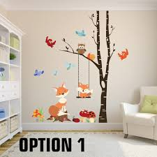 Woodland Forest Peel And Stick Fox Wall Decals Woodland Nursery 1 Tree Birch Nursery Vinyl