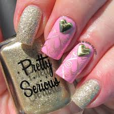 it u0027s all about the polish pink and gold valentine nail design