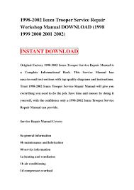 1998 2002 isuzu trooper service repair workshop manual download 1998 u2026