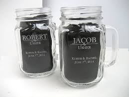 wedding favor glasses engraved jar with handle engraved wedding glasses