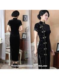 short sleeve dark red cheongsam traditional chinese silk velvet