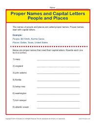 proper names and capital letters worksheet people and places