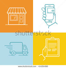 Awning Online Vector Set Linear Flat Icons Infographics Stock Vector 545289673