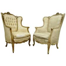 pair of 1930 u0027s french louis xv style carved wingback bergere