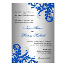 and silver wedding royal blue and silver invitations announcements zazzle