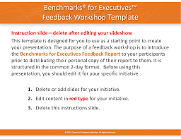 template benchmarks for executives feedback workshop