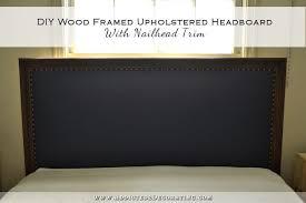 diy wood framed upholstered headboard with nailhead trim