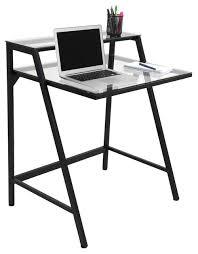 Computer Desk In Black Lumisource 2 Tier Computer Desk In Black Frame Clear Glass
