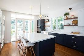 where to buy blue cabinets fabulous kitchen features navy blue shaker cabinets adorned with for