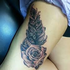 rose rosetattoo feather lace tattoo tattoos blackandgrey