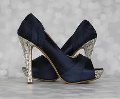 wedding shoes navy custom wedding shoes navy blue peep toe platform wedding