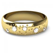 yellow gold wedding rings 9ct yellow gold fizzy diamond set wedding ring d shaped band 5mm