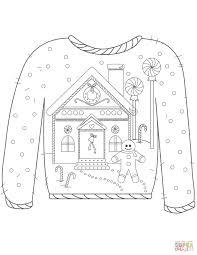 gingerbreadman coloring page christmas ugly sweater with gingerbread man motif coloring page