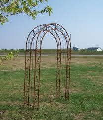 wrought iron round top garden trellis double arches 60