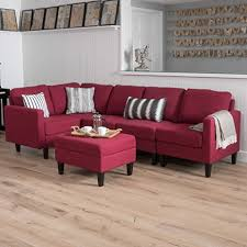 ottoman couch reversible sofa sectional red blended linen couch