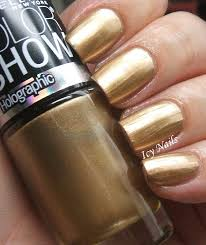 maybelline color holographic in bold gold swatch and review