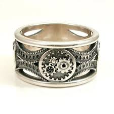 art deco skeleton ring holder images Silver gear ring steampunk art deco mens ring someday jpg