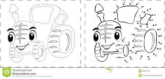 funny tractor drawing with dots and digits royalty free stock