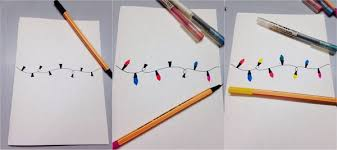 drawn christmas lights christmas card pencil and in color drawn