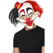 Scary Clown Halloween Costumes Scary Clown Mask Fat Lips Black Red Hair Icp Evil Creepy