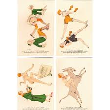 set of 4 1920s risque colored cards 1 from