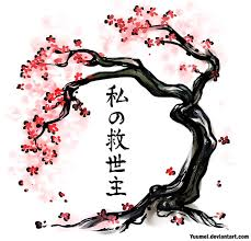 japanese cherry blossom tree design ink
