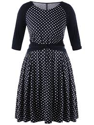 polka dot plus size high waist dress in black white 5xl
