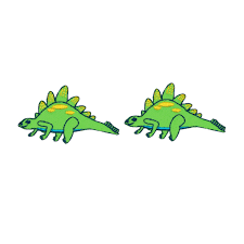 lot of 2 tiny green stegosaurus dinosaur patch cute kids craft