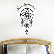 wall decals stickers home decor home furniture diy never stop dreaming dream catcher wall sticker dreamcatcher bedroom decal